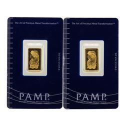 Lot of (2) Suisse 2.5 Gram Fine Gold Pamp Gold Bars