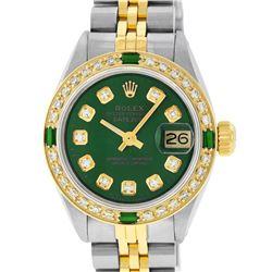 Rolex Ladies Two Tone Green Diamond & Emerald Datejust Wristwatch