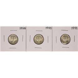 Lot of (3) 1944 Mercury Dime Coins