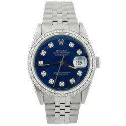 Rolex Datejust Stainless Steel 36mm Blue Diamond Dial Watch