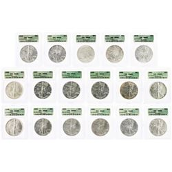 Set of 1986-2002 $ American Silver Eagle Coins ICG MS69