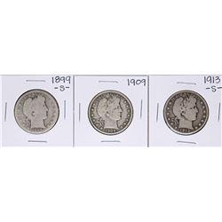 Lot of 1899-S, 1909, 1913-S Barber Half Dollar Coins
