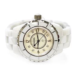Chanel Ladies J12 Ceramic & Stainless Steel 33mm Mother of Pearl Diamond Dial Wa