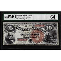 1880 $10 Jackass Legal Tender Note Fr.100 PMG Choice Uncirculated 64