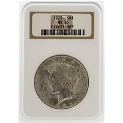 1923 $1 Peace Silver Dollar Coin NGC MS65