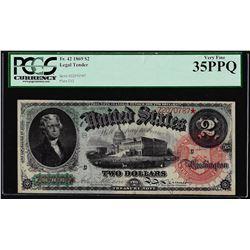 1869 $2 Rainbow Legal Tender Note Fr.42 PCGS Very Fine 35PPQ