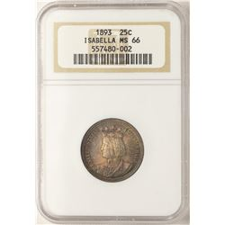 1893 Isabella Commemorative Quarter Coin NGC MS66 Amazing Toning