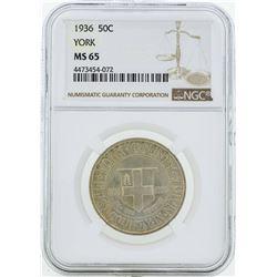 1936 York County, Maine Tercentenary Commemorative Half Dollar Coin NGC MS65