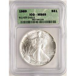 1989 $1 American Silver Eagle Coin ICG MS69