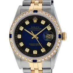 Rolex Mens Two Tone 14K Blue Vignette Diamond & Sapphire Datejust Wristwatch
