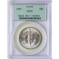 1945 Walking Liberty Half Dollar Coin PCGS MS65