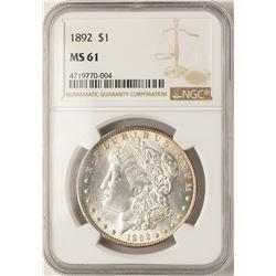 1892 $1 Morgan Silver Dollar Coin NGC MS61