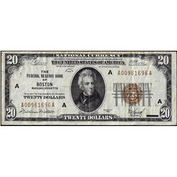 1929 $20 Federal Reserve Note Boston