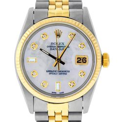 Rolex Mens Two Tone 14K Mother Of Pearl Diamond 36MM Datejust Wristwatch