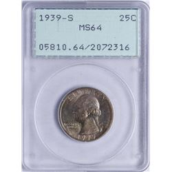 1939-S Washington Quarter Coin PCGS MS64 Old Green Rattler