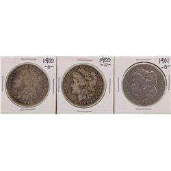 Lot of (3) 1900-O & 1901-O $1 Morgan Silver Dollar Coins