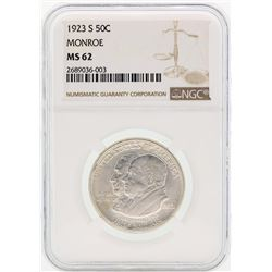 1923-S Monroe Commemorative Half Dollar Coin NGC MS62