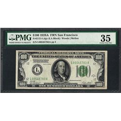 1928A $100 Federal Reserve Note San Francisco Fr.2151-L PMG Choice Very Fine 35