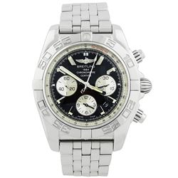 Breitling Mens Chronomat B01 Stainless Steel 44mm Black Stick Dial Watch