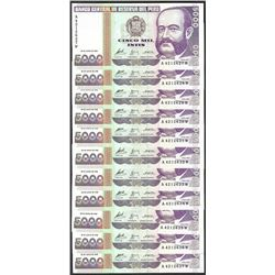 Lot of (11) 1988 Peru Cinco Mil Intis Uncirculated Bank Notes