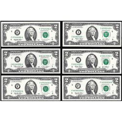 Lot of (6) Mix Date $2 Federal Reserve Notes