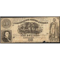 1861 $10 Confederate States of America Note