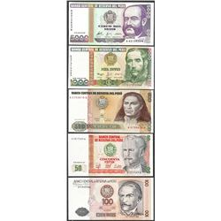 Lot of (5) 1987/1988 Peru Intis Uncirculated Bank Notes