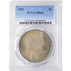 1882 $1 Morgan Silver Dollar Coin PCGS MS64 Amazing Toning