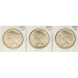 Lot of (3) 1925-S $1 Peace Silver Dollar Coins