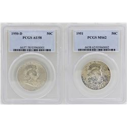 Lot of 1950-D Half Dollar PCGS AU58 & 1951 Half Dollar PCGS MS62 Coins