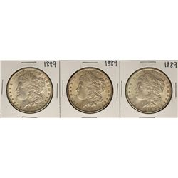 Lot of (3) 1889 $1 Morgan Silver Dollar Coins