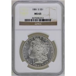 1881-S $1 Morgan Silver Dollar Coin NGC MS65