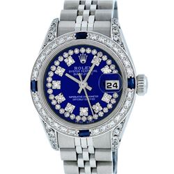 Rolex Ladies Stainless Steel Royal Blue String VVS Diamond Datejust Wristwatch