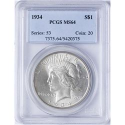 1934 $1 Peace Silver Dollar Coin PCGS MS64