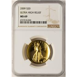 2009 $20 Ultra High Relief Double Eagle Gold Coin NGC MS69