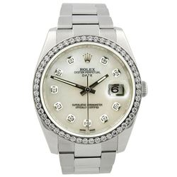 Rolex Oyster Perpetual Date Stainless Steel 34mm MOP Diamond Dial Watch