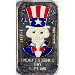 July 4, 1975 Independence Day Enamel Silver Art Bar