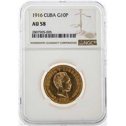 1916 Cuba 10 Pesos Gold Coin NGC AU58
