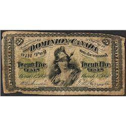 1870 Dominion of Canada Twenty Five Cent Note