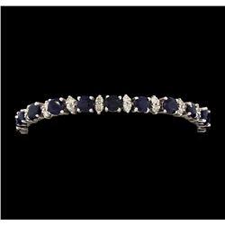 14KT White Gold 12.40 ctw Blue Sapphire and Diamond Bracelet
