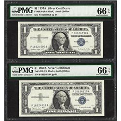 Lot of (2) 1957A $1 Silver Certificate Notes PMG Gem Uncirculated 66EPQ
