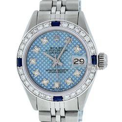 Rolex Ladies Stainless Steel Blue Stamp Diamond & Ruby Datejust Wristwatch