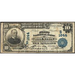 1902 $10 The First NB of Houston, TX CH# 1644 National Currency Note