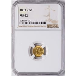 1853 $1 Liberty Princess Head Gold Dollar Coin NGC MS62