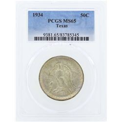 1934 Texas Commemorative Half Dollar Coin PCGS MS65
