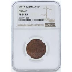 1871A Germany 3 Pfenninge Prussia Proof Coin NGC PF64RB