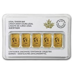 Lot of (5) 2016 Canada 1/10 oz Royal Canadian Mint $25 Gold Bars