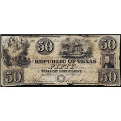1878 $50 Republic of Texas Treasury Obsolete Bank Note - Tear Bottom Right