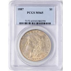 1887 $1 Morgan Silver Dollar Coin PCGS MS65 Nice Toning