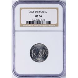 2005-D Bison Nickel Coin NGC MS66